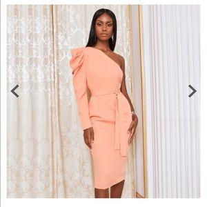 Lavish Alice Cowl Sleeve One Shoulder Midi Dress